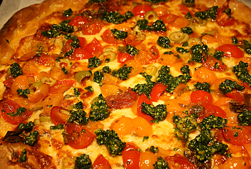 Cherry Tomato And Parsley Pesto Pizza